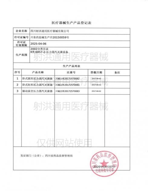 医疗器械生产许可证副本